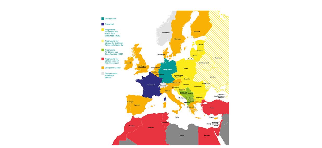 Karte trilaterale Partnerländer
